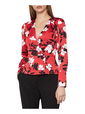 BCBGMAXAZRIA Floral Satin Wrap Top
