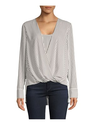 BCBGMAXAZRIA High-Low Striped Wrap Blouse