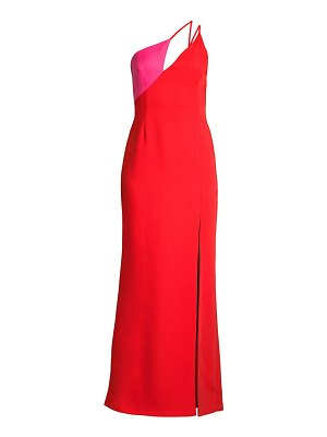 BCBGMAXAZRIA one-shouldered satin colorblock gown