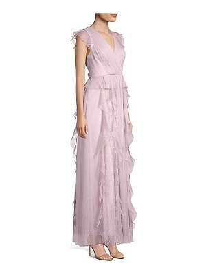 BCBGMAXAZRIA ruffled lace & tulle gown