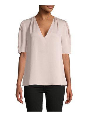 BCBGMAXAZRIA Short-Sleeve V-Neck Pleated Top