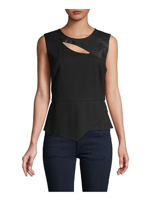 BCBGMAXAZRIA Sleeveless Faux Leather-Trim Top