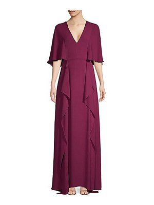 BCBGMAXAZRIA v-neck flounce maxi dress