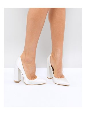 Be Mine Bridal Adeline Ivory Satin Block Heeled Pumps