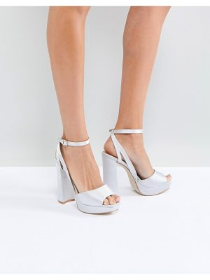 Be Mine Bridal Katia Gray Satin Platform Heeled Sandals