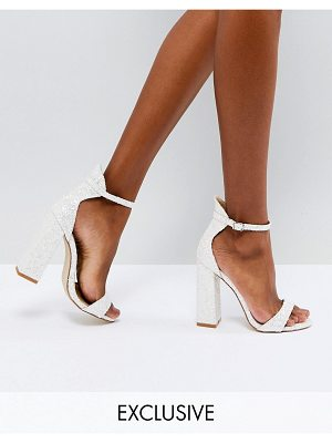 Be Mine Bridal Laurel White Glitter Block Heeled Sandals