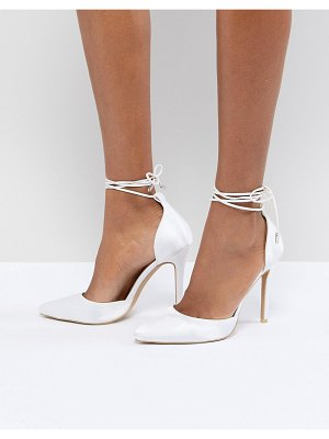 Be Mine bridal leila ivory satin ankle tie pumps