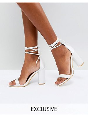 Be Mine Bridal Mellina Ivory Satin Ankle Tie Block Heeled Sandals