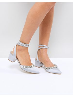 Be Mine Bridal Saphira Gray Satin Embellished Mid Heeled Shoes