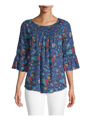 Beach Lunch Lounge Bell-Sleeve Smocked Floral Top