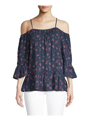 Beach Lunch Lounge Cold-Shoulder Bell-Sleeve Floral Top