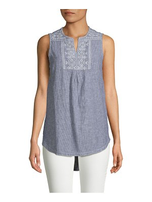 Beach Lunch Lounge Embroidered Stripe Tank Top