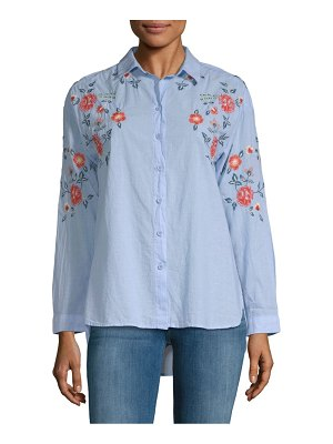 Beach Lunch Lounge Lucianna Embroidered Cotton Button-Down Shirt