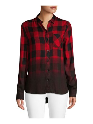 Beach Lunch Lounge Ombré Plaid Button-Down Shirt