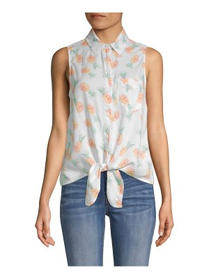 Beach Lunch Lounge Pineapple-Print Tie-Front Top