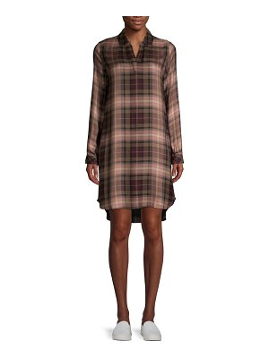 Beach Lunch Lounge Plaid High-Low Shirtdress