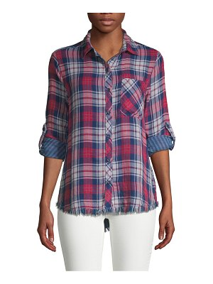 Beach Lunch Lounge Plaid Roll-Sleeve Button Down