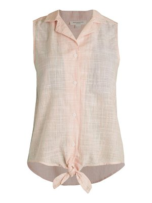 Beach Lunch Lounge Poppy Texture Knot-Front Sleeveless Blouse