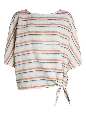 Beach Lunch Lounge Stripe Knotted Linen T-Shirt