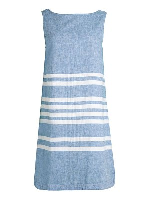 Beach Lunch Lounge Striped Boatneck Linen & Cotton Blend Shift Dress