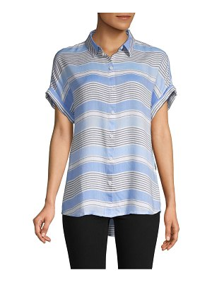 Beach Lunch Lounge Striped High-Low Blouse