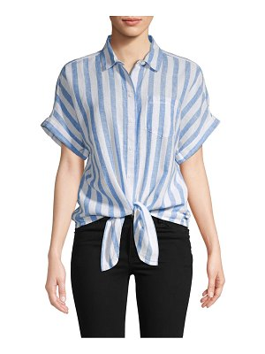 Beach Lunch Lounge Striped Linen & Cotton Blend Button-Down Shirt