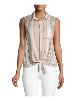 Beach Lunch Lounge Striped Sleeveless Tie-Front Top