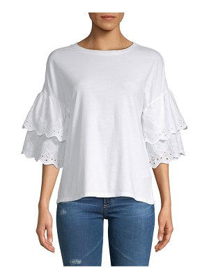 Beach Lunch Lounge Tiered Eyelet Cotton Blouse