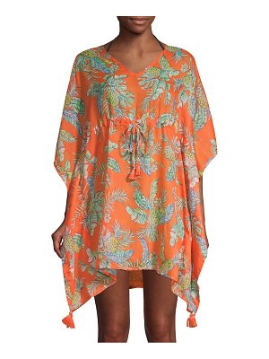Beach Lunch Lounge Tropical-Print Tie-Front Cover-Up