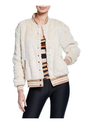 Beach Riot Baseball Stripe Faux-Fur Bomber Jacket
