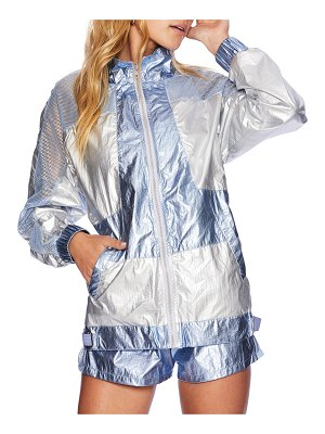 Beach Riot Metallic Zip-Front Active Jacket