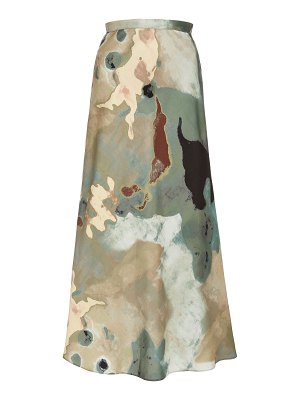 Beaufille hume printed crepe de chine maxi skirt