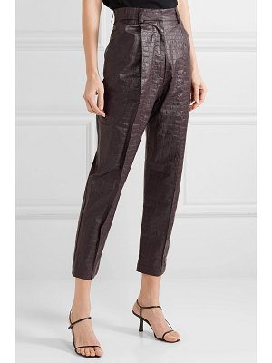Beaufille nova croc-effect coated-linen tapered pants