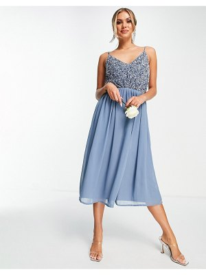 Beauut bridesmaid embellished midi dress with tulle skirt in blue-blues