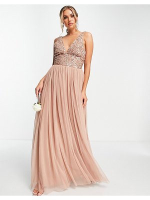 Beauut bridesmaid sequin embellished maxi dress with plunge front and tulle skirt in mink-pink