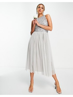 Beauut bridesmaid sequin embellished midi dress with tulle skirt in light gray-grey