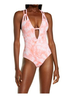 Becca crystal plunge neck one-piece swimsuit