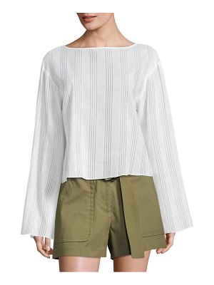 Becken Flare Bell-Sleeve Striped Cotton Voile Top