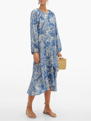 Belize harper tropical print satin midi dress