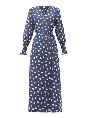 Belize kaia floral print cotton seersucker wrap dress