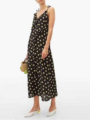 Belize kim floral print ruffle trim cotton midi dress