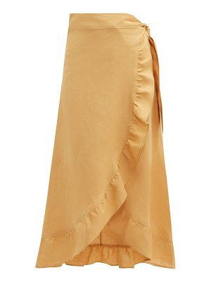 Belize lara ruffled linen midi skirt