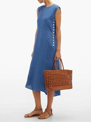 Belize lila buttoned linen dress