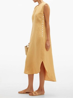 Belize lila buttoned side linen midi dress