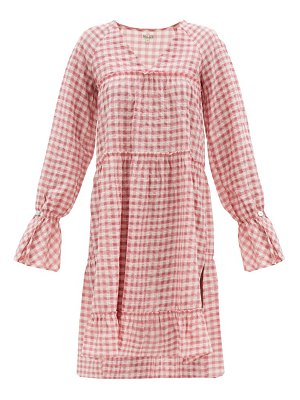 Belize medina tiered gingham cotton-blend dress