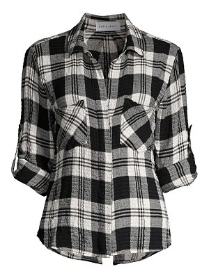 Bella Dahl split-back plaid button-down shirt