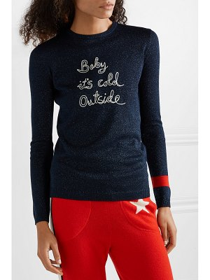 Bella Freud baby it's cold outside embroidered metallic wool-blend sweater