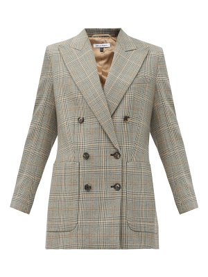 Bella Freud bianca double-breasted checked wool jacket