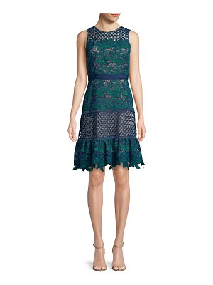 Belle Badgley Mischka Deanndra Embroidered A-Line Dress