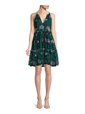 Belle Badgley Mischka Denya Floral A-Line Dress